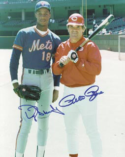 PETE ROSE - AUTOGRAPHED SIGNED PHOTOGRAPH CO-SIGNED BY: DARRYL STRAWBERRY