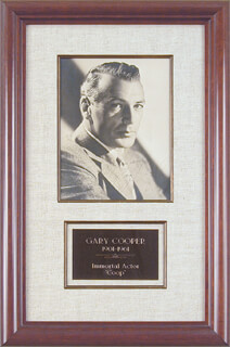 GARY COOPER - AUTOGRAPHED SIGNED PHOTOGRAPH