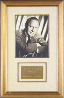 JACK BENNY - AUTOGRAPHED INSCRIBED PHOTOGRAPH