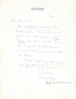 PRESIDENT RONALD REAGAN - AUTOGRAPH LETTER SIGNED 08/12/1962
