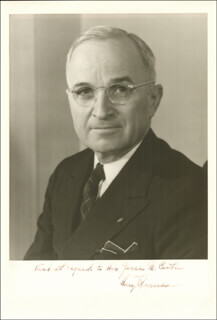 PRESIDENT HARRY S TRUMAN - AUTOGRAPHED SIGNED PHOTOGRAPH