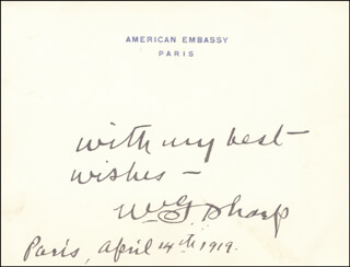 WILLIAM G. SHARP - AUTOGRAPH SENTIMENT SIGNED 04/14/1919