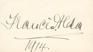 Autographs: FRANCES ALDA - SIGNATURE(S) 1914