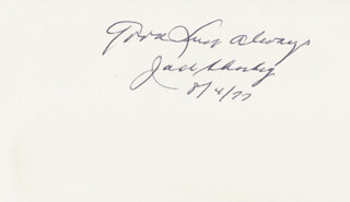 JACK SHARKEY - AUTOGRAPH SENTIMENT SIGNED 08/04/1977