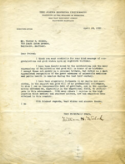 WILLIAM H. WELCH - TYPED LETTER SIGNED 04/28/1930