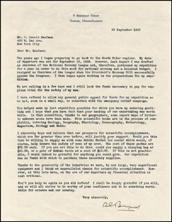 Autographs: REAR ADMIRAL RICHARD E. BYRD - TYPED LETTER SIGNED 09/23/1933