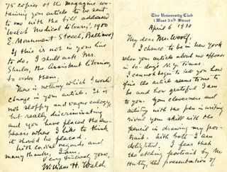 WILLIAM H. WELCH - AUTOGRAPH LETTER SIGNED 04/06/1930