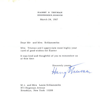 PRESIDENT HARRY S TRUMAN - TYPED LETTER SIGNED 03/24/1967