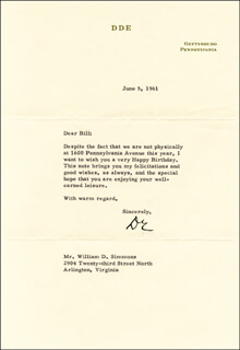 PRESIDENT DWIGHT D. EISENHOWER - TYPED LETTER SIGNED 06/05/1961