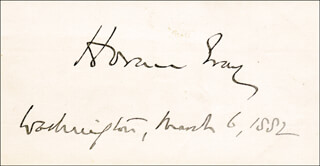 ASSOCIATE JUSTICE HORACE GRAY - AUTOGRAPH 03/06/1882