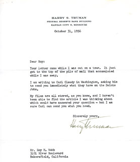PRESIDENT HARRY S TRUMAN - TYPED LETTER SIGNED 10/31/1956