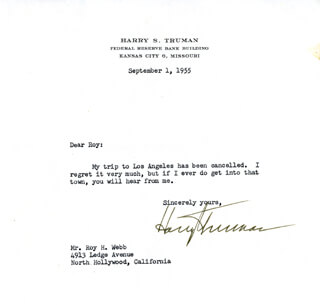 PRESIDENT HARRY S TRUMAN - TYPED LETTER SIGNED 09/01/1955