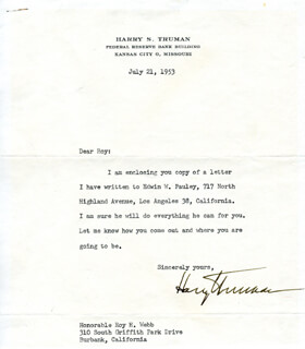 PRESIDENT HARRY S TRUMAN - TYPED LETTER SIGNED 07/21/1953