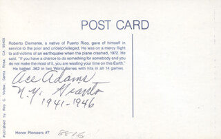 Autographs: ACE ADAMS - FIRST DAY COVER SIGNED