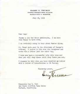 PRESIDENT HARRY S TRUMAN - TYPED LETTER SIGNED 07/28/1953