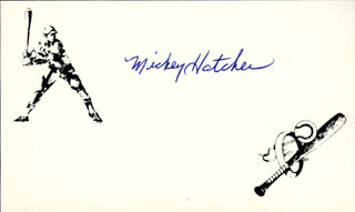 MICKEY HATCHER - PRINTED CARD SIGNED IN INK