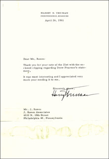 PRESIDENT HARRY S TRUMAN - TYPED LETTER SIGNED 04/26/1961