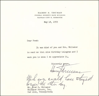 PRESIDENT HARRY S TRUMAN - TYPED LETTER SIGNED 05/18/1955