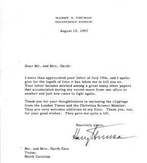 PRESIDENT HARRY S TRUMAN - TYPED LETTER SIGNED 08/19/1957