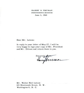 PRESIDENT HARRY S TRUMAN - TYPED LETTER SIGNED 06/03/1960