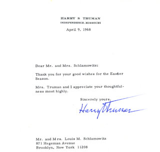 PRESIDENT HARRY S TRUMAN - TYPED LETTER SIGNED 04/09/1968