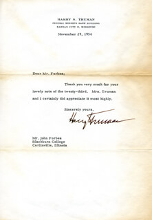 PRESIDENT HARRY S TRUMAN - TYPED LETTER SIGNED 11/29/1954