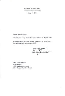 PRESIDENT HARRY S TRUMAN - TYPED LETTER SIGNED 05/03/1961