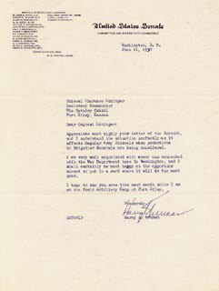 PRESIDENT HARRY S TRUMAN - TYPED LETTER SIGNED 06/11/1938