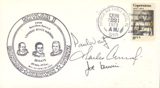 CAPTAIN PAUL J. WEITZ - COMMEMORATIVE ENVELOPE SIGNED CO-SIGNED BY: CAPTAIN JOSEPH KERWIN, CAPTAIN CHARLES PETE CONRAD JR.