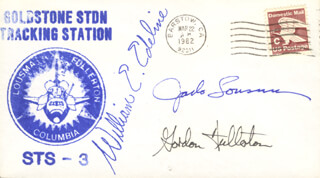COLONEL JACK LOUSMA - COMMEMORATIVE ENVELOPE SIGNED CO-SIGNED BY: WILLIAM E. EDELINE, COLONEL C. GORDON FULLERTON