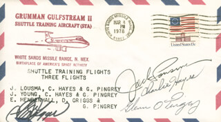 S. DAVID GRIGGS - COMMEMORATIVE ENVELOPE SIGNED CO-SIGNED BY: COLONEL JACK LOUSMA, CHARLIE HAYES, GLENN PINGREY