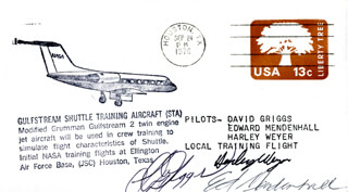 S. DAVID GRIGGS - COMMEMORATIVE ENVELOPE SIGNED CO-SIGNED BY: HARLEY WEYER, EDWARD MENDENHALL