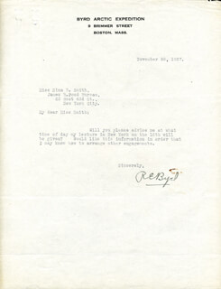 Autographs: REAR ADMIRAL RICHARD E. BYRD - TYPED LETTER SIGNED 11/28/1927