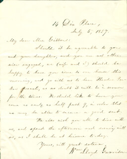 WILLIAM LLOYD GARRISON - AUTOGRAPH LETTER SIGNED 07/05/1857