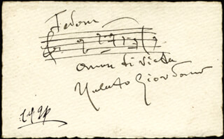 UMBERTO GIORDANO - AUTOGRAPH MUSICAL QUOTATION SIGNED 1926