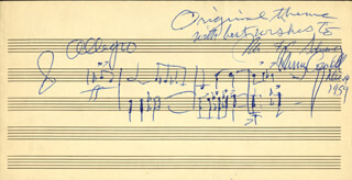 Autographs: HENRY COWELL - INSCRIBED AUTOGRAPH MUSICAL QUOTATION SIGNED 12/14/1959