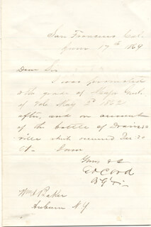 MAJOR GENERAL E. O. C. ORD - MANUSCRIPT LETTER SIGNED 06/17/1869