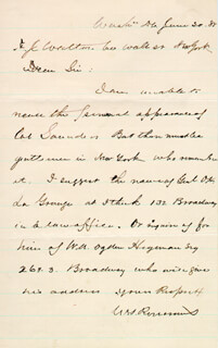 MAJOR GENERAL WILLIAM S. OLD ROSY ROSECRANS - AUTOGRAPH LETTER SIGNED 06/20/1885