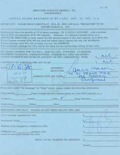 JAMES MASON - DOCUMENT SIGNED 01/06/1975