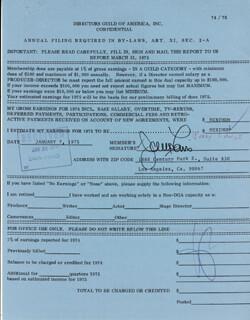 JERRY LEWIS - DOCUMENT SIGNED 01/07/1975