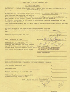 MICKEY ROONEY - DOCUMENT SIGNED 02/18/1966