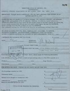 RAY MILLAND - DOCUMENT SIGNED 10/04/1972
