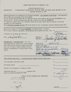 JULES J. WHITE - DOCUMENT SIGNED 12/16/1966