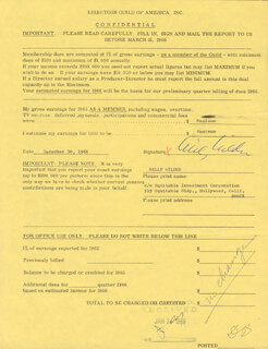 BILLY WILDER - DOCUMENT SIGNED 12/30/1965