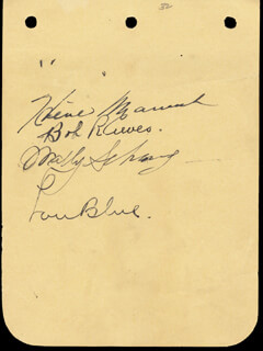 HEINIE MANUSH - AUTOGRAPH CO-SIGNED BY: BOBBY E. GUNNER REEVES, WALLY SCHANG, LU BLUE