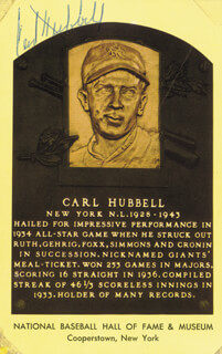 CARL HUBBELL - BASEBALL HALL OF FAME PLAQUE POSTCARD SIGNED  - HFSID 46529