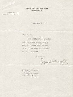 Autographs: ASSOCIATE JUSTICE FRANK MURPHY - TYPED LETTER SIGNED 01/06/1941