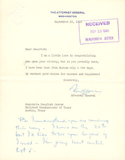 Autographs: ASSOCIATE JUSTICE TOM C. CLARK - TYPED LETTER SIGNED 09/18/1946