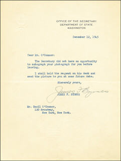ASSOCIATE JUSTICE JAMES F. BYRNES - TYPED LETTER SIGNED 12/12/1945