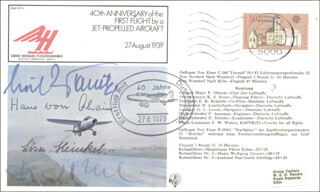 HANS PABST VON OHAIN - COMMEMORATIVE ENVELOPE SIGNED CO-SIGNED BY: ERNST HEINKEL, JR., LISA HEINKEL, ERICH WARSITZ